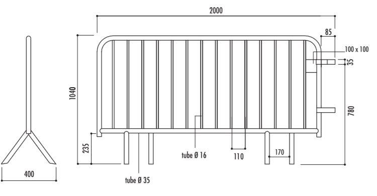 Dessin technique et dimensions de la barrière Vauban 14 barreaux - DMC Direct
