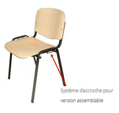 Chaise Iso Comfort bois avec accroches version assemblable et empilable - DMC Direct