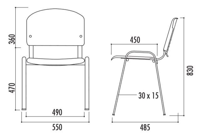 Dessin technique et dimensions de la chaise Iso Comfort Bois - DMC Direct