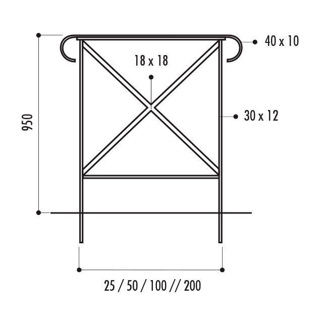 dimensions de la barrière de ville en acier - dmc direct