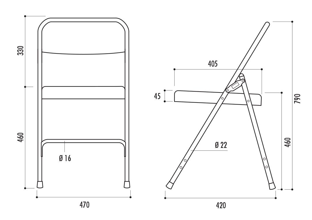 dimensions de la chaise plainte gênes en métal - dmc direct
