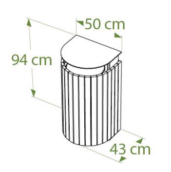 Dessin technique de la corbeille demi-lune en recyclé - DMC Direct