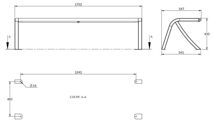 Dessin technique de la banquette lames en compact - DMC Direct
