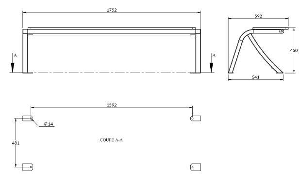 Dessin technique de la banquette urbaine structure acier et panneaux en compact - DMC Direct