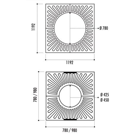 Dimensions de la grille d'arbre Cuadrado