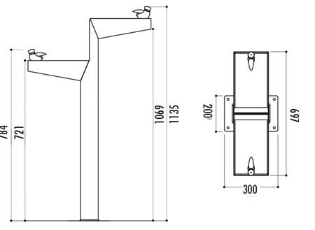 Dimensions de la fontaine Miniminus