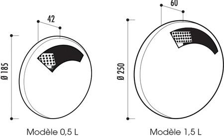 Dimensions du cendrier en acier Disco