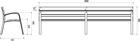 Banc 3 metres en bois exotique et fonte