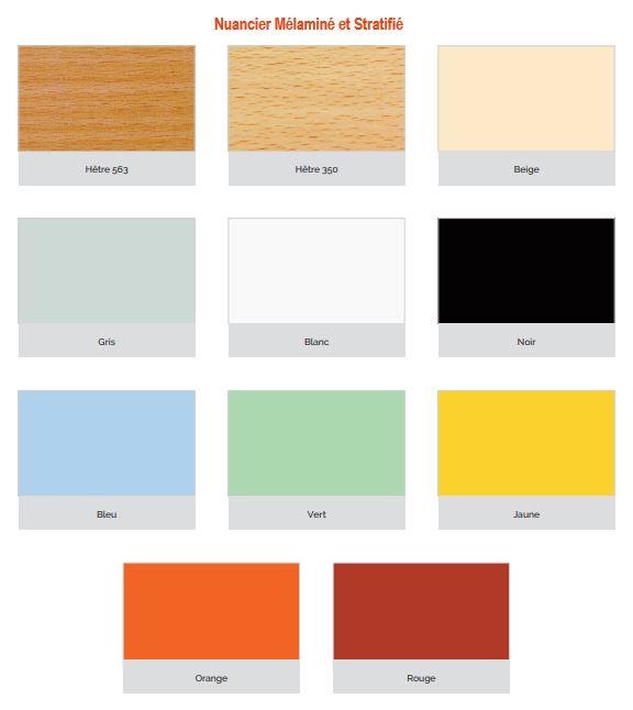 Coloris disponible pour le plateau en mélaminé ou en stratifié