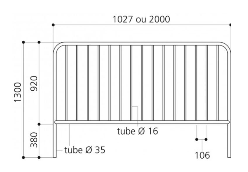 Diemsnions et dessin technique de la barrière à barreaux de DMC Direct