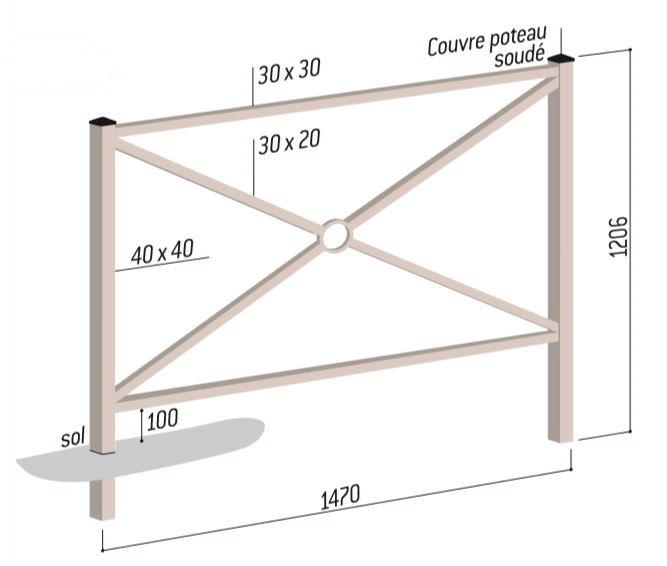 Dessin technique de la barrière urbaine en métal modèle Blois - DMC Direct