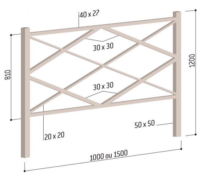 Barrière de ville Losange - dessin technique et dimensions - DMC Direct