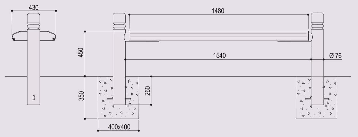 Dessin technique et dimensions de la banquette urbaine en métal LUGANO de DMC Direct