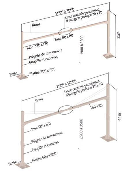 Dessin technique et dimensions du portique universel tournant jusqu'à 12 m - DMC Direct