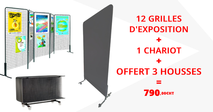 Lot promotionnel de 12 grilles d'exposition avec chariot de transport - DMC Direct