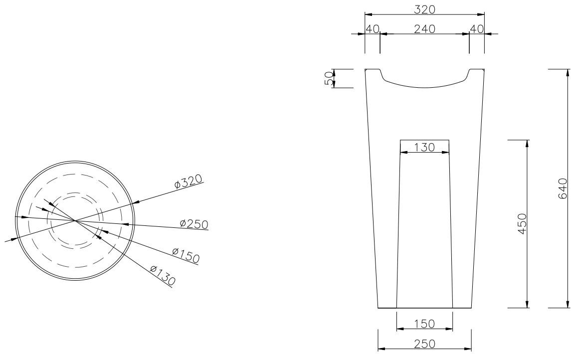dimensions du cendrier extérieur en béton Vésuve - dmc direct