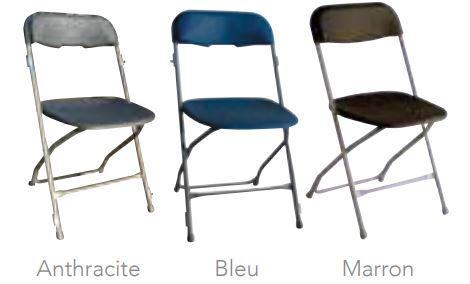 chaise pliante de collectivité en trois coloris - dmc direct