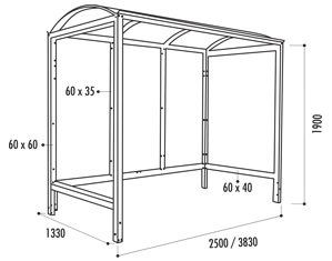 Les dimensions de l'abri bus Viareggio