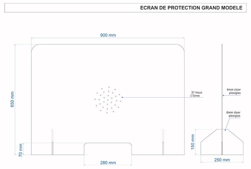 barrière de protection antivirale 900 mm