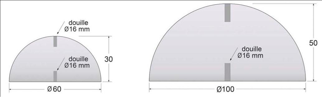 Dimension borne demi sphère béton - DMC