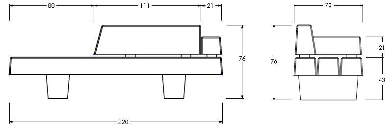 dimensions du banc extérieur moderne vanina - dmc direct