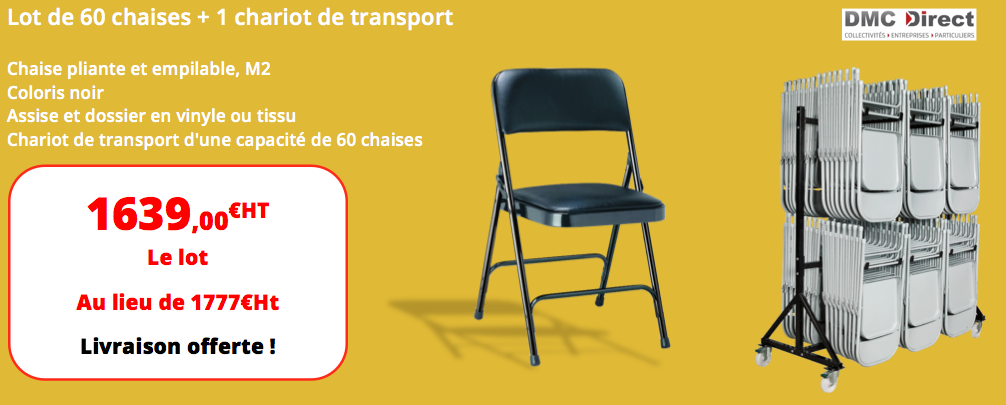 3c02097fbe3 finest lot de chaises pliantes en tissu ou vinyle chariot de transport dmc  direct with promotion chaises