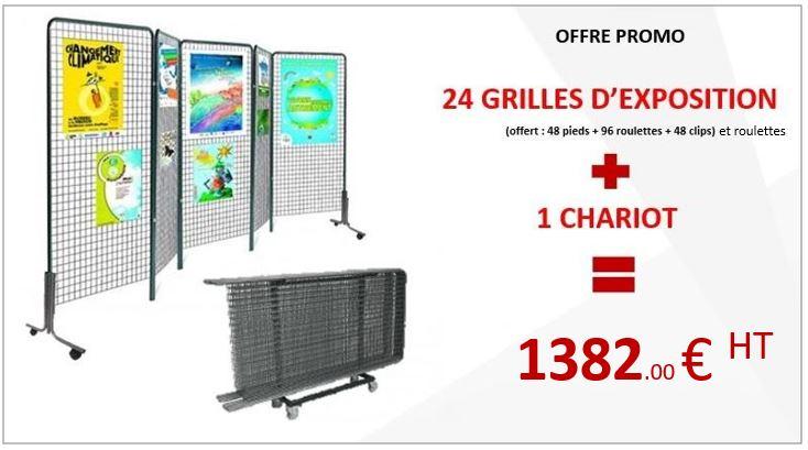 Promo DMC Direct : 1 lot de 24 grilles d'expo à roulettes + 1 chariot
