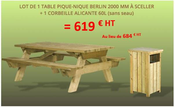 table de pique-nique en bois en promotion dmc direct