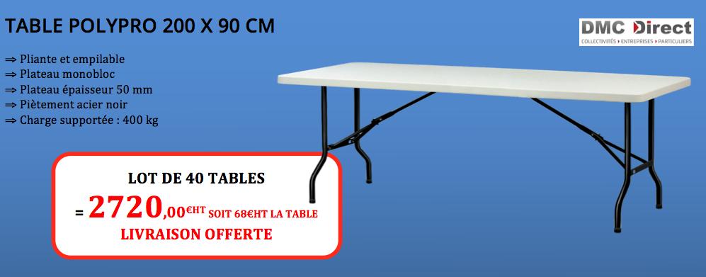 408a571355d Descriptif de la table pliante en polypro 200 x 90 cm