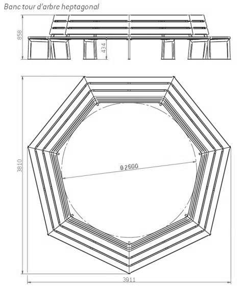 Dessin technique du banc tour d'arbre heptagonal - DMC Direct