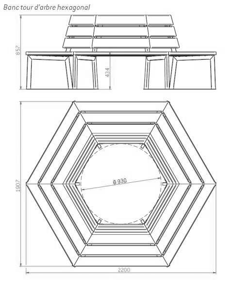 Dessin technique du banc d'entourage d'arbre hexagonal